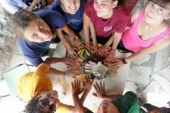 Volontari italiani a fine lavori